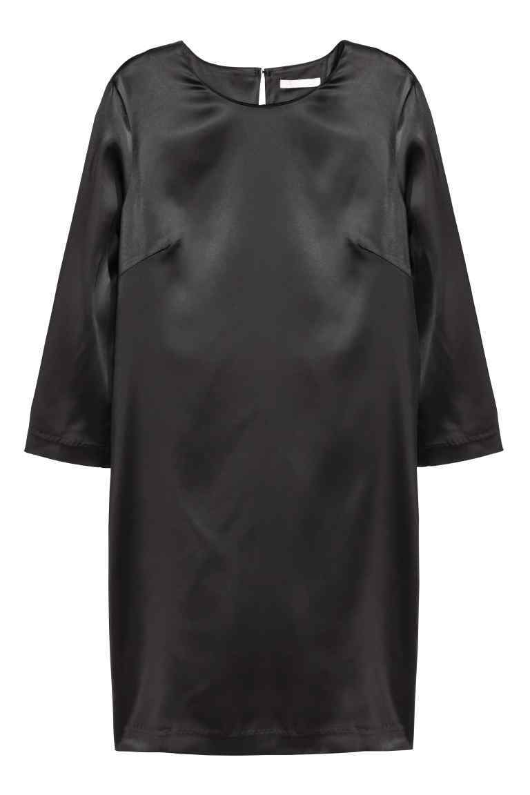Dress With A Draped Back - style: shift; length: mid thigh; pattern: plain; predominant colour: black; occasions: evening, occasion; fit: straight cut; fibres: polyester/polyamide - 100%; neckline: crew; sleeve length: 3/4 length; sleeve style: standard; texture group: structured shiny - satin/tafetta/silk etc.; pattern type: fabric; season: a/w 2016; wardrobe: event