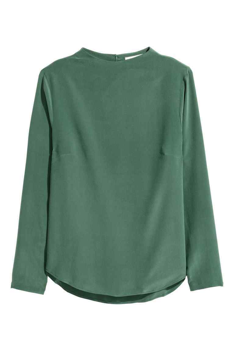 Long Sleeved Silk Blouse - pattern: plain; neckline: high neck; style: blouse; predominant colour: dark green; occasions: casual; length: standard; fibres: silk - 100%; fit: body skimming; sleeve length: long sleeve; sleeve style: standard; texture group: silky - light; pattern type: fabric; season: a/w 2016; wardrobe: highlight