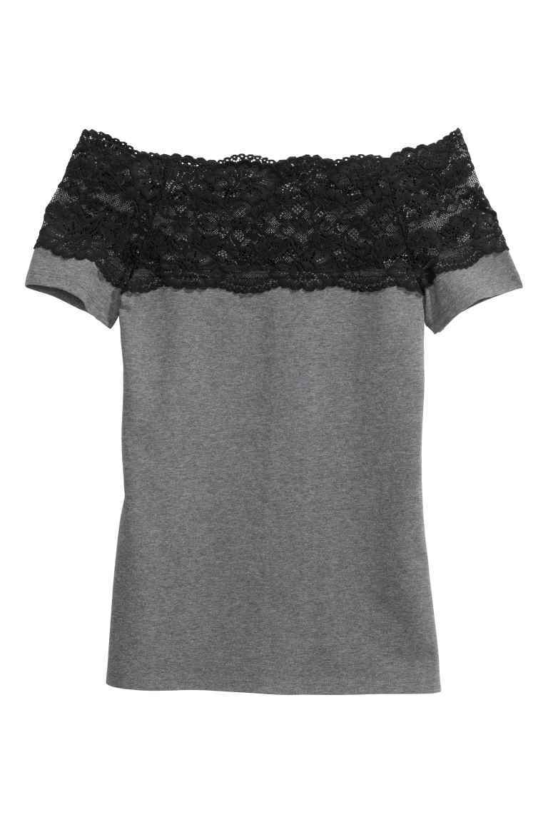 Top With A Lace Yoke - neckline: off the shoulder; pattern: plain; predominant colour: mid grey; secondary colour: black; occasions: casual; length: standard; style: top; fibres: cotton - stretch; fit: body skimming; sleeve length: short sleeve; sleeve style: standard; pattern type: fabric; texture group: jersey - stretchy/drapey; embellishment: lace; multicoloured: multicoloured; season: a/w 2016; wardrobe: highlight