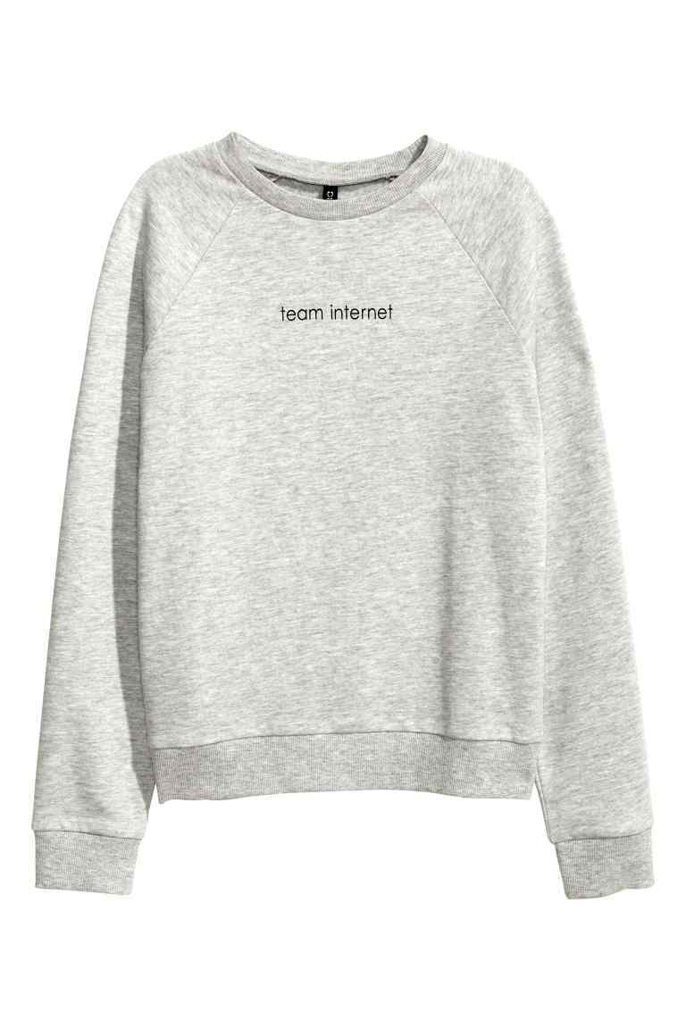 Sweatshirt With Motif - sleeve style: raglan; style: sweat top; predominant colour: light grey; occasions: casual; length: standard; fibres: cotton - stretch; fit: body skimming; neckline: crew; sleeve length: long sleeve; texture group: cotton feel fabrics; pattern type: fabric; pattern: graphic/slogan; season: a/w 2016; wardrobe: highlight