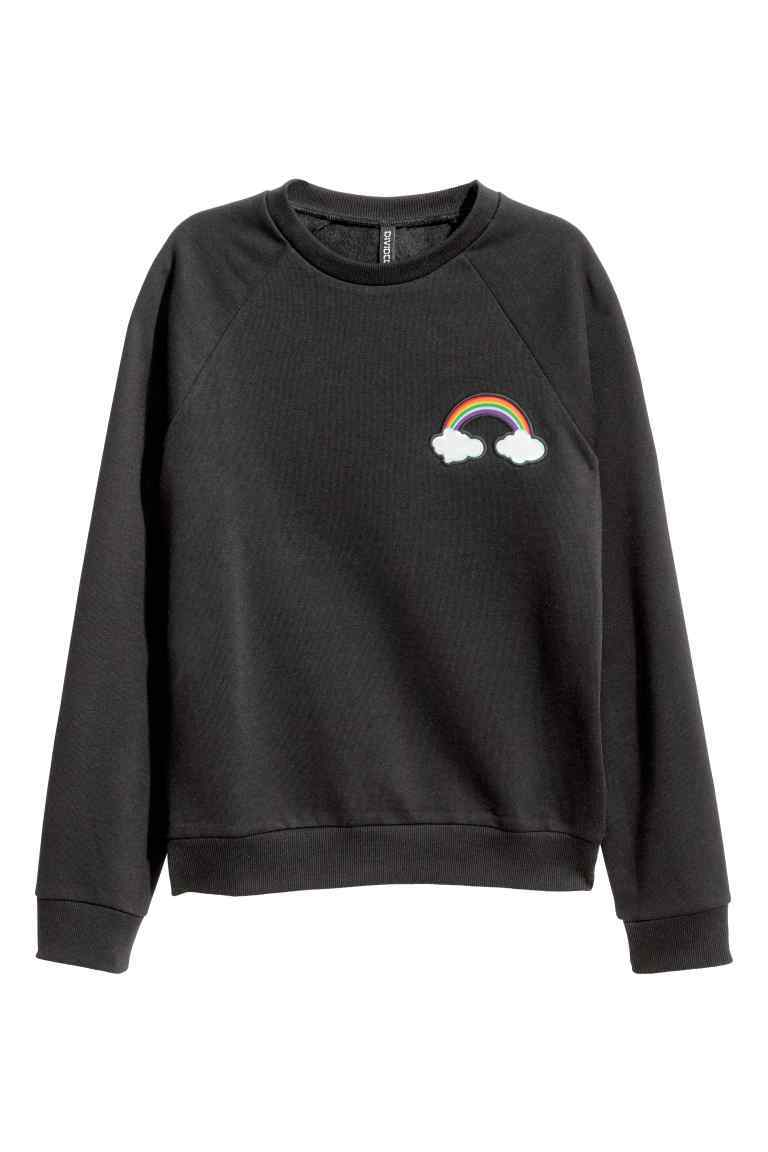 Sweatshirt With Motif - style: sweat top; predominant colour: black; occasions: casual; length: standard; fibres: cotton - mix; fit: body skimming; neckline: crew; sleeve length: long sleeve; sleeve style: standard; pattern type: fabric; pattern: patterned/print; texture group: jersey - stretchy/drapey; season: a/w 2016; wardrobe: highlight