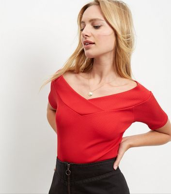 Dark Red Wrap Bardot Neck Top - neckline: off the shoulder; pattern: plain; predominant colour: true red; occasions: casual; length: standard; style: top; fibres: viscose/rayon - stretch; fit: tight; sleeve length: short sleeve; sleeve style: standard; texture group: jersey - clingy; pattern type: fabric; season: a/w 2016