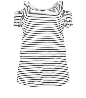 Curves White Stripe Cold Shoulder Top - neckline: round neck; pattern: horizontal stripes; predominant colour: white; secondary colour: navy; occasions: casual; length: standard; style: top; fibres: cotton - mix; fit: body skimming; shoulder detail: cut out shoulder; sleeve length: short sleeve; sleeve style: standard; pattern type: fabric; texture group: jersey - stretchy/drapey; multicoloured: multicoloured; season: a/w 2016; wardrobe: highlight