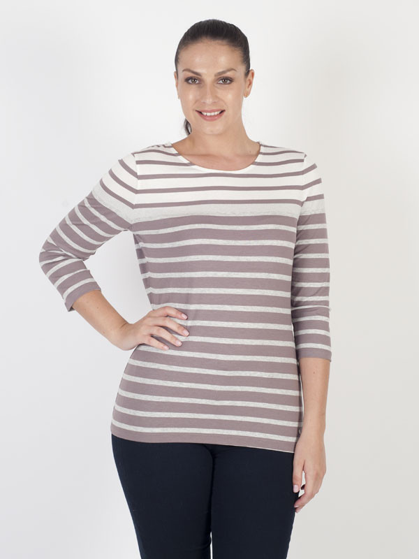 Gerry Weber Lilac Stripe Jersey Top - pattern: horizontal stripes; predominant colour: white; secondary colour: mid grey; occasions: casual; length: standard; style: top; fibres: viscose/rayon - 100%; fit: body skimming; neckline: crew; sleeve length: 3/4 length; sleeve style: standard; pattern type: fabric; texture group: jersey - stretchy/drapey; multicoloured: multicoloured; wardrobe: basic; season: a/w 2016
