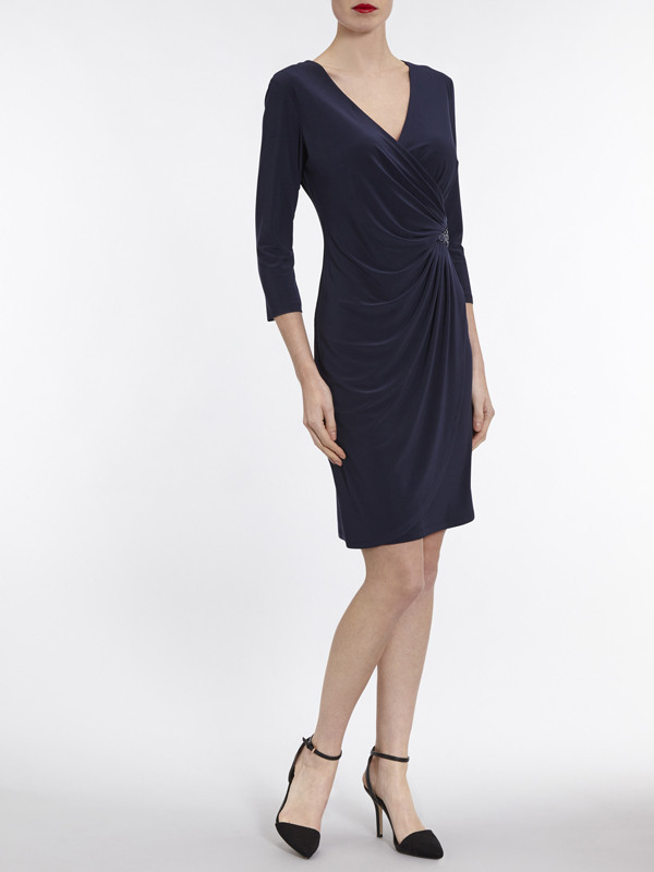 Gina Bacconi Navy Jersey Dress With Sequin Insert - style: faux wrap/wrap; neckline: v-neck; pattern: plain; predominant colour: black; occasions: evening; length: just above the knee; fit: body skimming; fibres: polyester/polyamide - stretch; sleeve length: 3/4 length; sleeve style: standard; pattern type: fabric; texture group: jersey - stretchy/drapey; season: a/w 2016; wardrobe: event