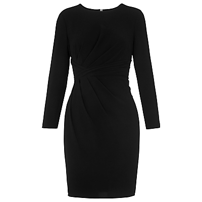 Alabana Bodycon Dress, Black - length: mid thigh; fit: tight; pattern: plain; style: bodycon; predominant colour: black; occasions: evening, occasion; fibres: polyester/polyamide - stretch; neckline: crew; sleeve length: long sleeve; sleeve style: standard; texture group: jersey - clingy; pattern type: fabric; season: a/w 2016; wardrobe: event