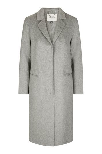 Wool Butted Seam Coat - pattern: plain; style: single breasted; collar: standard lapel/rever collar; length: mid thigh; predominant colour: mid grey; occasions: work; fit: straight cut (boxy); fibres: wool - mix; sleeve length: long sleeve; sleeve style: standard; collar break: medium; pattern type: fabric; texture group: woven bulky/heavy; trends: chic girl, tomboy girl; wardrobe: investment; season: a/w 2016