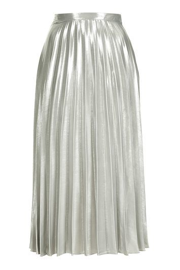 Tall Metallic Pleat Skirt - length: below the knee; pattern: plain; fit: body skimming; style: pleated; waist: mid/regular rise; predominant colour: silver; occasions: evening; fibres: polyester/polyamide - 100%; pattern type: fabric; texture group: other - light to midweight; trends: fashion girl, pretty girl, metallics; season: a/w 2016; wardrobe: event