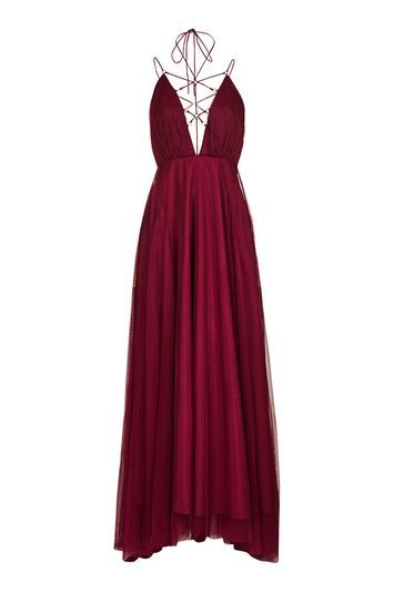 Tulle Lace Up Maxi Dress - neckline: plunge; sleeve style: spaghetti straps; pattern: plain; style: maxi dress; predominant colour: burgundy; occasions: evening; length: floor length; fit: fitted at waist & bust; fibres: polyester/polyamide - 100%; sleeve length: sleeveless; texture group: sheer fabrics/chiffon/organza etc.; pattern type: fabric; trends: chic girl, glossy girl; season: a/w 2016; wardrobe: event