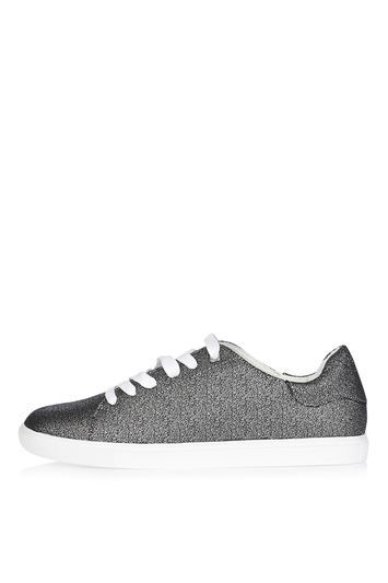 Catseye Lace Up Trainers - predominant colour: silver; occasions: casual, creative work; material: faux leather; heel height: flat; toe: round toe; style: trainers; finish: plain; pattern: plain; trends: tomboy girl; wardrobe: basic; season: a/w 2016