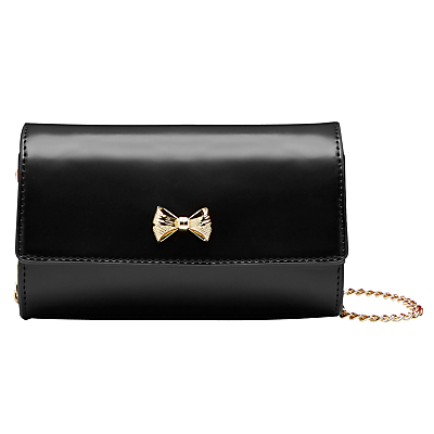 Aelia Leather Small Across Body Bag - secondary colour: gold; predominant colour: black; occasions: evening, occasion; type of pattern: standard; style: clutch; length: across body/long; size: standard; material: leather; pattern: plain; finish: plain; embellishment: bow; season: a/w 2016; wardrobe: event