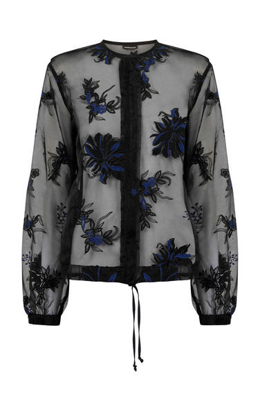 Embroidered Bomber Jacket - pattern: plain; collar: round collar/collarless; style: bomber; secondary colour: royal blue; predominant colour: black; occasions: evening; length: standard; fit: straight cut (boxy); fibres: polyester/polyamide - 100%; sleeve length: long sleeve; sleeve style: standard; texture group: sheer fabrics/chiffon/organza etc.; collar break: high; pattern type: fabric; pattern size: standard; embellishment: embroidered; season: a/w 2016; wardrobe: event