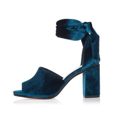 Womens Blue Velvet Block Heel Sandals - predominant colour: navy; occasions: evening, occasion; material: velvet; heel height: high; ankle detail: ankle tie; heel: block; toe: open toe/peeptoe; style: standard; finish: plain; pattern: plain; season: a/w 2016; wardrobe: event; trends: velvet