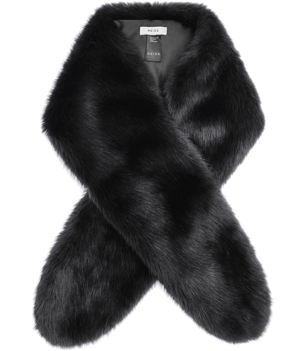Laska Womens Faux Fur Scarf In Grey - predominant colour: charcoal; occasions: evening, occasion; type of pattern: standard; size: standard; material: faux fur; pattern: plain; embellishment: fur; style: stole; season: a/w 2016; wardrobe: event