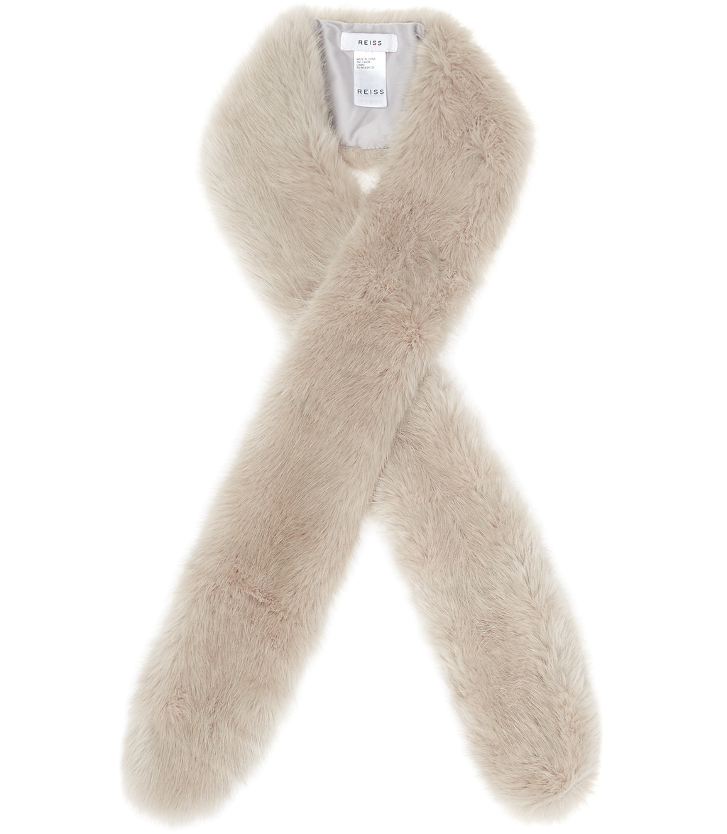 Linski Womens Slim Faux Fur Scarf In Grey - predominant colour: blush; occasions: evening, occasion; type of pattern: standard; size: standard; material: faux fur; pattern: plain; embellishment: fur; style: stole; season: a/w 2016; wardrobe: event