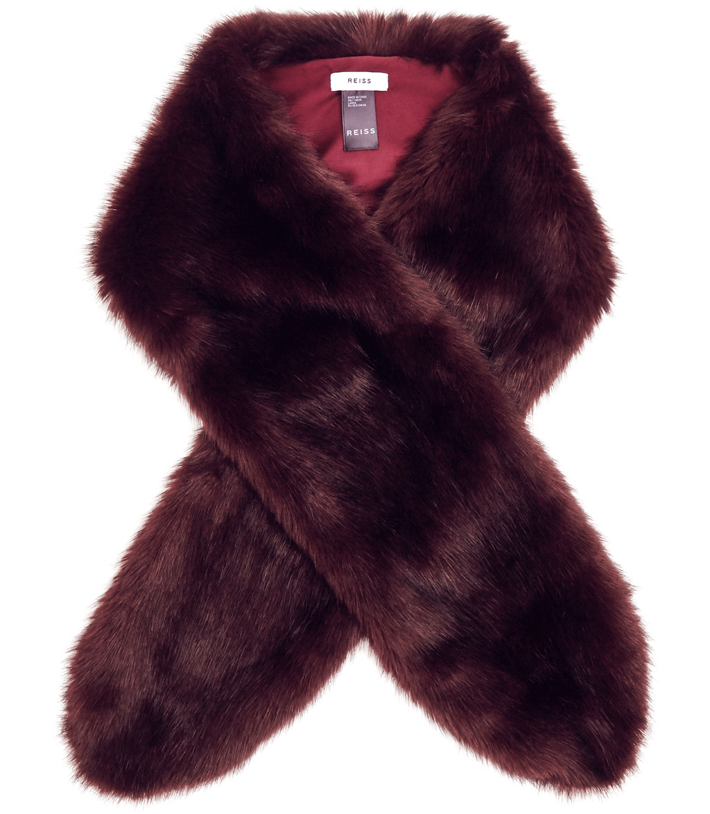 Laska Womens Faux Fur Scarf In Red - predominant colour: aubergine; occasions: occasion; type of pattern: standard; size: standard; material: faux fur; pattern: plain; style: stole; season: a/w 2016; wardrobe: event