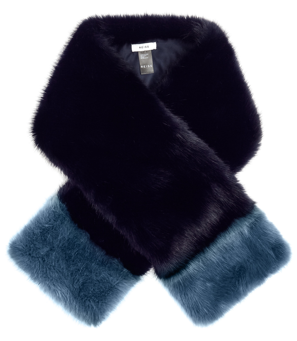 Irving Womens Faux Fur Scarf In Blue - predominant colour: navy; occasions: occasion; type of pattern: standard; size: standard; material: faux fur; pattern: plain; style: stole; season: a/w 2016; wardrobe: event