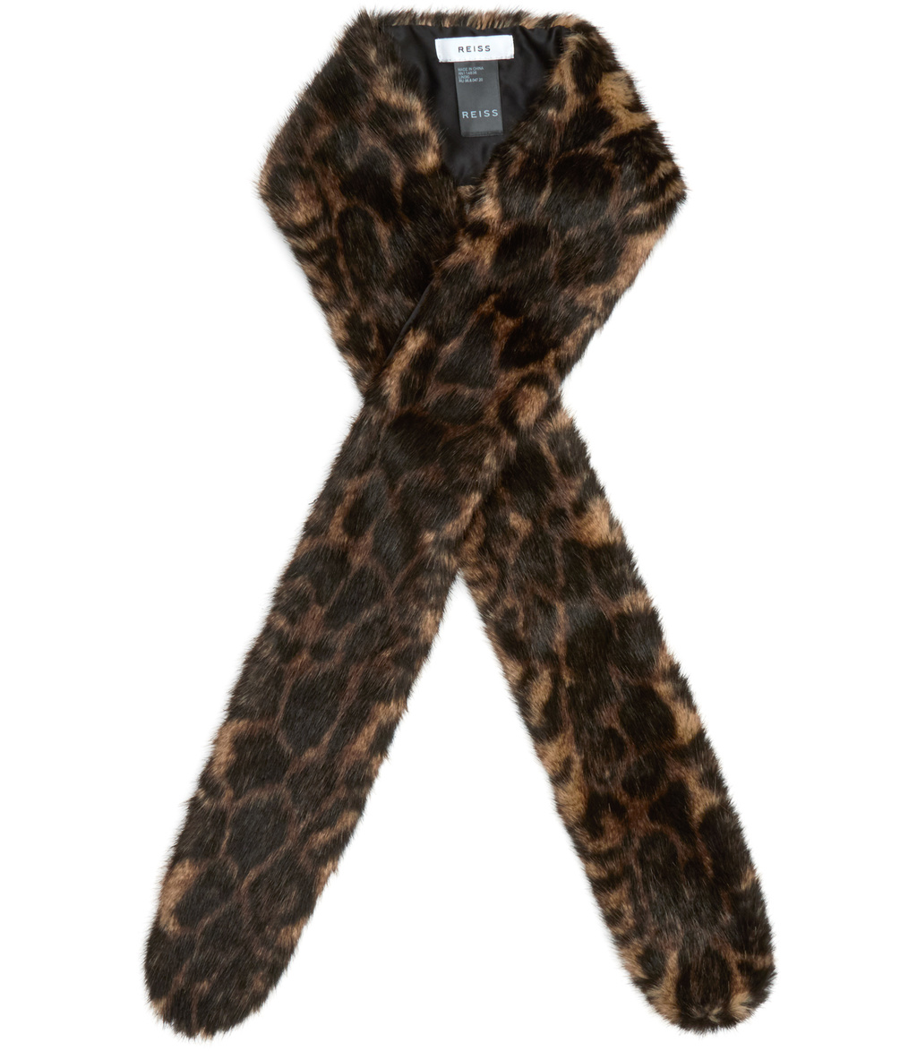 Linski Womens Slim Faux Fur Scarf In Black - predominant colour: chocolate brown; occasions: casual; type of pattern: heavy; size: standard; material: faux fur; pattern: animal print; style: stole; season: a/w 2016; wardrobe: highlight