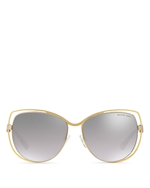 Cat Eye Sunglasses, 58 Mm - predominant colour: gold; occasions: casual, holiday; style: round; size: large; material: chain/metal; pattern: plain; finish: plain; season: a/w 2016