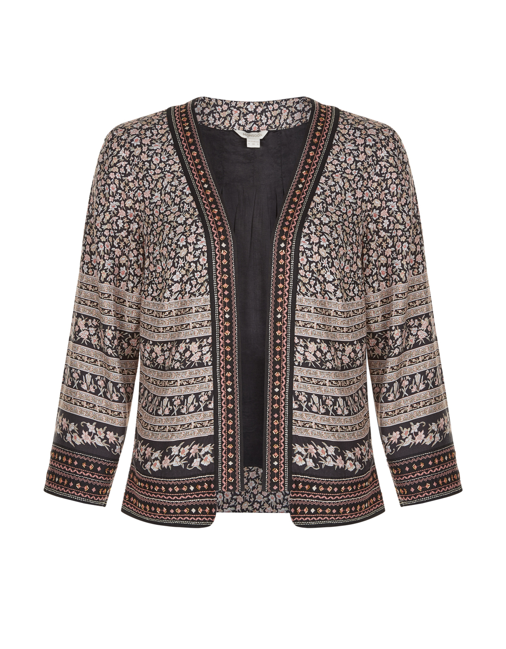 Lucie Print Jacket - collar: round collar/collarless; style: boxy; predominant colour: blush; secondary colour: black; occasions: evening; length: standard; fit: straight cut (boxy); fibres: cotton - mix; sleeve length: long sleeve; sleeve style: standard; texture group: crepes; collar break: low/open; pattern type: fabric; pattern: patterned/print; embellishment: beading; multicoloured: multicoloured; season: a/w 2016; wardrobe: event; embellishment location: all over