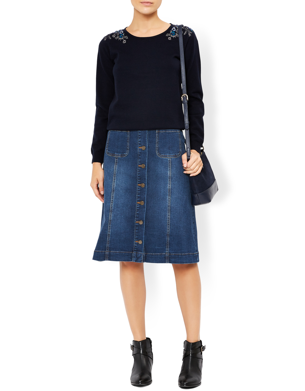 Dita Denim Skirt - pattern: plain; style: straight; fit: body skimming; waist: mid/regular rise; predominant colour: denim; occasions: casual, creative work; length: on the knee; fibres: cotton - 100%; texture group: denim; pattern type: fabric; wardrobe: basic; season: a/w 2016