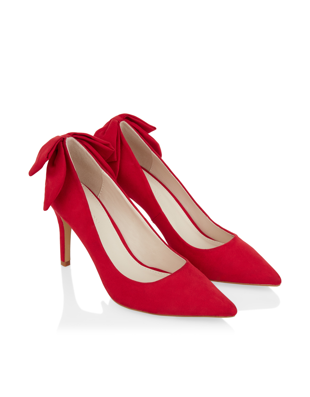 Arcelia Bow Shoe - predominant colour: true red; occasions: evening, occasion, creative work; material: suede; heel height: high; heel: stiletto; toe: pointed toe; style: courts; finish: plain; pattern: plain; embellishment: bow; season: a/w 2016; wardrobe: highlight