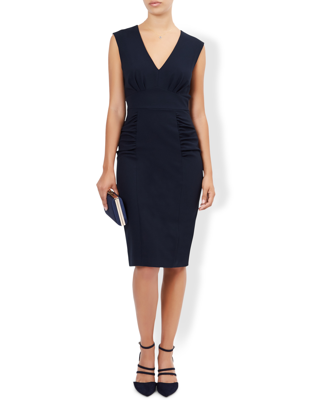 Sasha Plain Dress - neckline: v-neck; fit: tight; pattern: plain; sleeve style: sleeveless; style: bodycon; predominant colour: black; occasions: evening; length: on the knee; fibres: polyester/polyamide - stretch; sleeve length: sleeveless; texture group: jersey - clingy; pattern type: fabric; season: a/w 2016; wardrobe: event