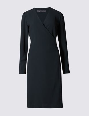Long Sleeve Wrap Dress - style: faux wrap/wrap; neckline: v-neck; pattern: plain; predominant colour: navy; occasions: evening, work, creative work; length: on the knee; fit: body skimming; fibres: polyester/polyamide - 100%; sleeve length: long sleeve; sleeve style: standard; pattern type: fabric; texture group: jersey - stretchy/drapey; season: a/w 2016