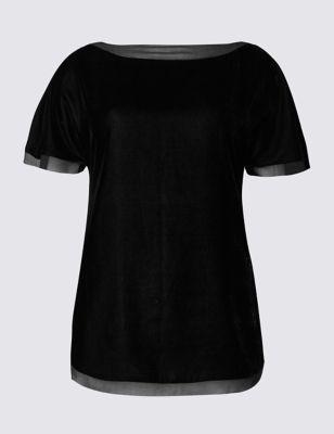Velvet Short Sleeve Shell Top - pattern: plain; style: t-shirt; predominant colour: black; occasions: evening; length: standard; fibres: polyester/polyamide - 100%; fit: body skimming; neckline: crew; sleeve length: short sleeve; sleeve style: standard; pattern type: fabric; texture group: velvet/fabrics with pile; season: a/w 2016; wardrobe: event