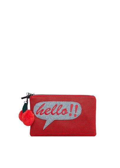 Decorative Patch Clutch - predominant colour: true red; occasions: evening, occasion; type of pattern: standard; style: clutch; length: hand carry; size: standard; material: fabric; pattern: plain; finish: plain; embellishment: pompom; season: a/w 2016; wardrobe: event