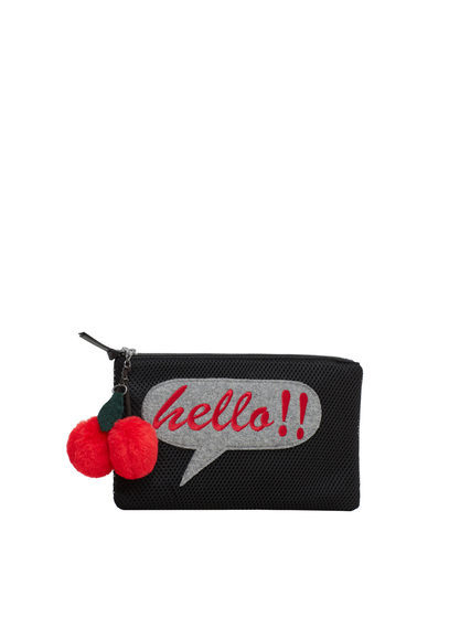 Decorative Patch Clutch - secondary colour: true red; predominant colour: black; occasions: evening, occasion; type of pattern: standard; style: clutch; length: hand carry; size: standard; material: fabric; pattern: plain; finish: plain; embellishment: pompom; season: a/w 2016