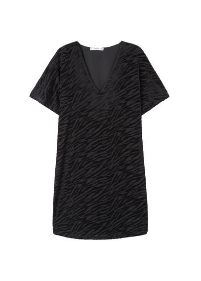 Textured Printed Dress - style: t-shirt; neckline: v-neck; secondary colour: mid grey; predominant colour: black; occasions: casual; length: just above the knee; fit: body skimming; fibres: polyester/polyamide - stretch; sleeve length: short sleeve; sleeve style: standard; pattern type: fabric; pattern: patterned/print; texture group: jersey - stretchy/drapey; multicoloured: multicoloured; season: a/w 2016; wardrobe: highlight