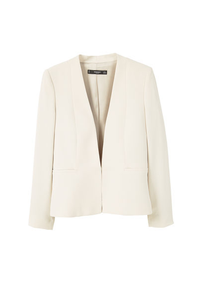Essential Structured Blazer - pattern: plain; style: single breasted blazer; collar: round collar/collarless; predominant colour: ivory/cream; occasions: evening, occasion; length: standard; fit: tailored/fitted; fibres: polyester/polyamide - 100%; sleeve length: long sleeve; sleeve style: standard; texture group: crepes; collar break: low/open; pattern type: fabric; season: a/w 2016; wardrobe: event