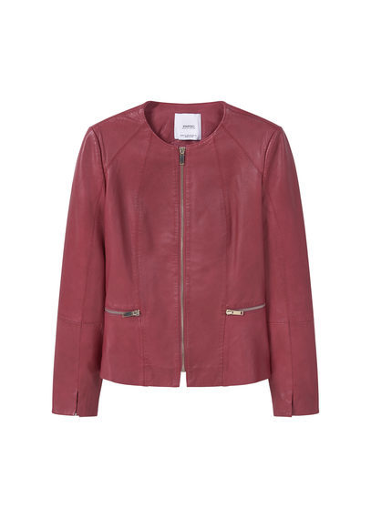 Zip Leather Jacket - pattern: plain; collar: round collar/collarless; style: boxy; predominant colour: burgundy; occasions: casual, creative work; length: standard; fit: straight cut (boxy); fibres: leather - 100%; sleeve length: long sleeve; sleeve style: standard; texture group: leather; collar break: high; pattern type: fabric; season: a/w 2016; wardrobe: highlight