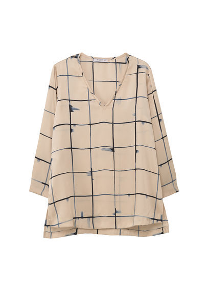 Flowy Printed Blouse - neckline: v-neck; pattern: checked/gingham; style: blouse; secondary colour: navy; predominant colour: nude; occasions: casual, creative work; length: standard; fibres: cotton - 100%; fit: straight cut; sleeve length: 3/4 length; sleeve style: standard; texture group: cotton feel fabrics; pattern type: fabric; pattern size: standard; season: a/w 2016; wardrobe: highlight