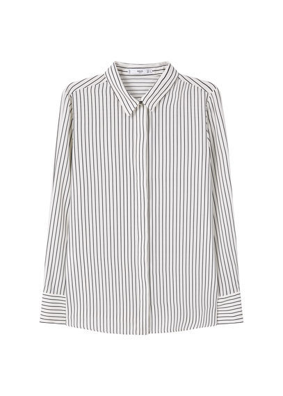 Printed Flowy Shirt - neckline: shirt collar/peter pan/zip with opening; pattern: vertical stripes; style: shirt; predominant colour: white; secondary colour: black; occasions: casual; length: standard; fibres: polyester/polyamide - 100%; fit: body skimming; sleeve length: long sleeve; sleeve style: standard; texture group: cotton feel fabrics; pattern type: fabric; multicoloured: multicoloured; season: a/w 2016; wardrobe: highlight