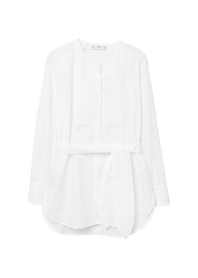 Belt Blouse - neckline: round neck; pattern: plain; style: blouse; waist detail: belted waist/tie at waist/drawstring; predominant colour: white; occasions: casual, creative work; length: standard; fibres: cotton - 100%; fit: straight cut; sleeve length: long sleeve; sleeve style: standard; texture group: cotton feel fabrics; pattern type: fabric; wardrobe: basic; season: a/w 2016