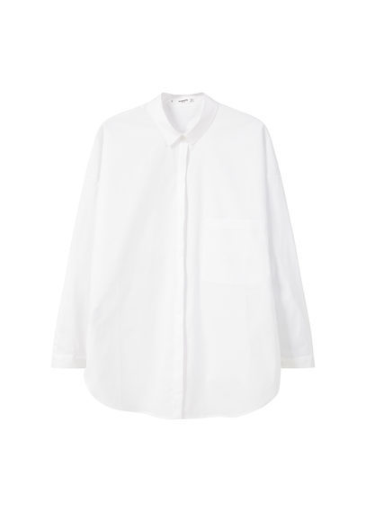 Poplin Shirt - neckline: shirt collar/peter pan/zip with opening; pattern: plain; style: shirt; predominant colour: white; occasions: work; length: standard; fibres: cotton - 100%; fit: body skimming; sleeve length: long sleeve; sleeve style: standard; texture group: cotton feel fabrics; pattern type: knitted - other; wardrobe: basic; season: a/w 2016