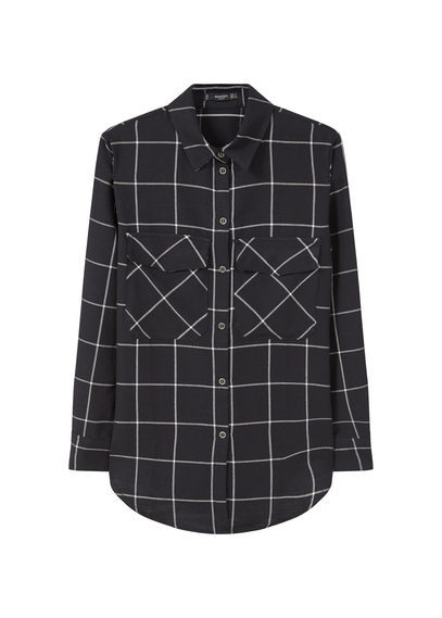 Check Cotton Shirt - neckline: shirt collar/peter pan/zip with opening; pattern: checked/gingham; style: shirt; secondary colour: light grey; predominant colour: black; occasions: work; length: standard; fibres: cotton - 100%; fit: body skimming; sleeve length: long sleeve; sleeve style: standard; trends: monochrome; pattern type: fabric; pattern size: standard; texture group: woven light midweight; multicoloured: multicoloured; season: a/w 2016; wardrobe: highlight