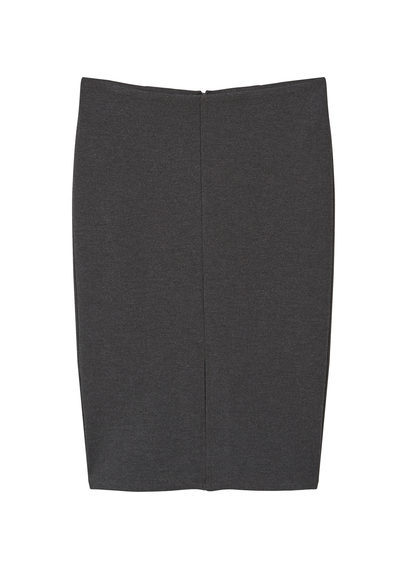 Vent Pencil Skirt - pattern: plain; style: pencil; fit: tailored/fitted; waist: mid/regular rise; predominant colour: charcoal; occasions: work; length: just above the knee; fibres: cotton - 100%; pattern type: fabric; texture group: other - light to midweight; wardrobe: basic; season: a/w 2016