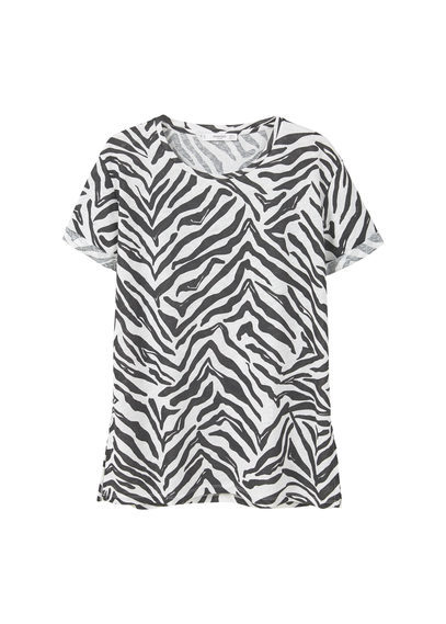 Printed Linen Blend T Shirt - style: t-shirt; predominant colour: white; secondary colour: charcoal; occasions: casual; length: standard; fibres: linen - mix; fit: body skimming; neckline: crew; sleeve length: short sleeve; sleeve style: standard; pattern type: fabric; pattern size: standard; pattern: animal print; texture group: jersey - stretchy/drapey; multicoloured: multicoloured; season: a/w 2016