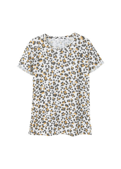Printed Linen Blend T Shirt - style: t-shirt; predominant colour: white; secondary colour: mid grey; occasions: casual; length: standard; fibres: linen - mix; fit: body skimming; neckline: crew; sleeve length: short sleeve; sleeve style: standard; texture group: linen; pattern type: fabric; pattern size: standard; pattern: animal print; multicoloured: multicoloured; season: a/w 2016; wardrobe: highlight