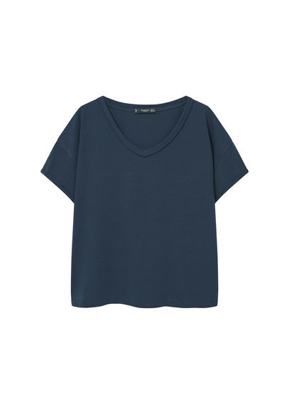 V Neck Cotton T Shirt - neckline: v-neck; pattern: plain; style: t-shirt; predominant colour: navy; occasions: casual; length: standard; fibres: cotton - 100%; fit: body skimming; sleeve length: short sleeve; sleeve style: standard; pattern type: fabric; texture group: jersey - stretchy/drapey; wardrobe: basic; season: a/w 2016
