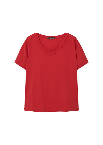 V Neck Cotton T Shirt - neckline: round neck; pattern: plain; style: t-shirt; predominant colour: true red; occasions: casual; length: standard; fibres: cotton - 100%; fit: body skimming; sleeve length: short sleeve; sleeve style: standard; pattern type: fabric; texture group: jersey - stretchy/drapey; season: a/w 2016; wardrobe: highlight