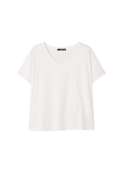 V Neck Cotton T Shirt - neckline: v-neck; pattern: plain; style: t-shirt; predominant colour: white; occasions: casual; length: standard; fibres: cotton - 100%; fit: body skimming; sleeve length: short sleeve; sleeve style: standard; pattern type: fabric; texture group: jersey - stretchy/drapey; wardrobe: basic; season: a/w 2016