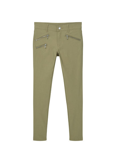 Zip Pocket Slim Fit Trousers - pattern: plain; waist: mid/regular rise; predominant colour: khaki; occasions: casual, creative work; length: ankle length; fibres: viscose/rayon - stretch; fit: slim leg; pattern type: fabric; texture group: woven light midweight; style: standard; wardrobe: basic; season: a/w 2016