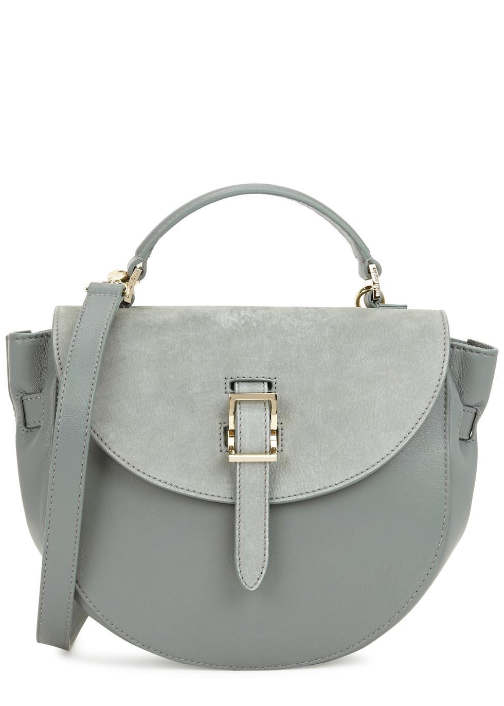 Ortensia Grey Leather Shoulder Bag - predominant colour: light grey; occasions: casual, creative work; type of pattern: light; style: saddle; length: across body/long; size: standard; material: leather; pattern: plain; finish: plain; wardrobe: basic; season: a/w 2016