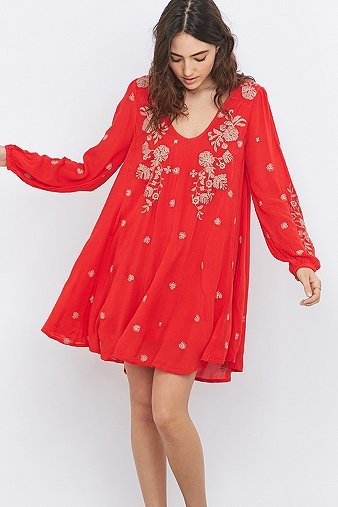 Sweet Tennessee Embroidered Red Mini Dress, Red - style: smock; length: mid thigh; fit: loose; secondary colour: ivory/cream; predominant colour: true red; occasions: casual; neckline: scoop; fibres: viscose/rayon - 100%; sleeve length: long sleeve; sleeve style: standard; pattern type: fabric; pattern: florals; texture group: other - light to midweight; embellishment: embroidered; multicoloured: multicoloured; season: a/w 2016; wardrobe: highlight