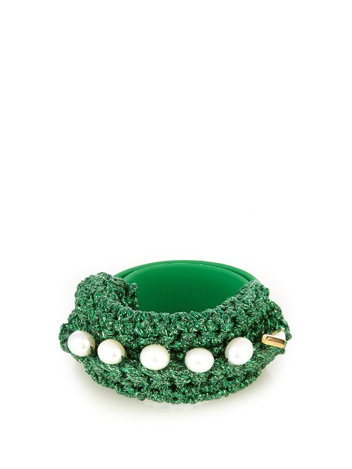 Pearl Diver Slap Crochet And Pearl Bracelet - secondary colour: white; predominant colour: emerald green; occasions: casual, creative work; style: bangle/standard; size: large/oversized; material: fabric/cotton; finish: plain; embellishment: beading; season: a/w 2016; wardrobe: highlight