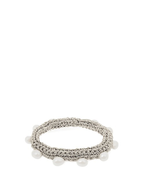 Pearl Diver Crochet And Pearl Bracelet - predominant colour: silver; style: cuff; size: standard; material: fabric/cotton; finish: plain; embellishment: beading; occasions: creative work; season: a/w 2016; wardrobe: highlight